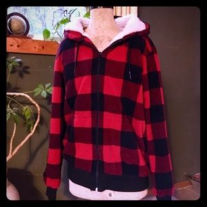 Jackets & Blazers - Red plaid zippered hoodie